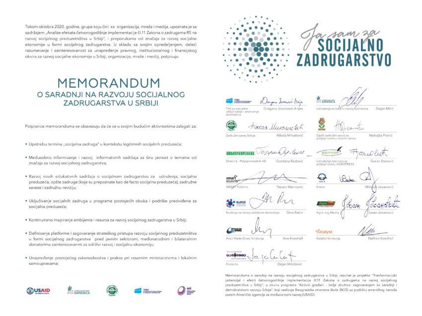Potpisan Memorandum za razvoj socijalnog zadrugarstva