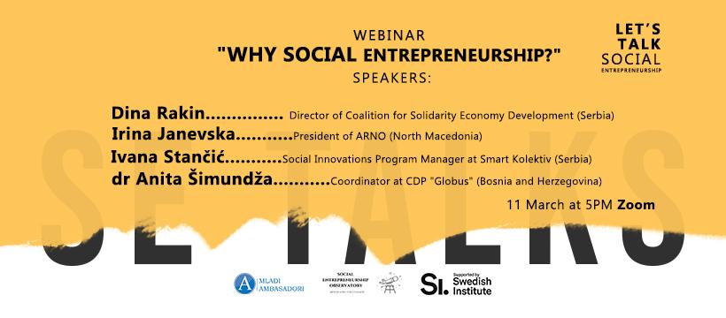 SE Talks Webinar – Why Social Entrepreneurship?
